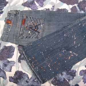 7 for all mankind paint splatter boot cut jeans
